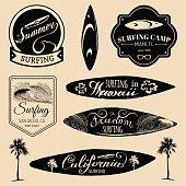 Vector set of vintage surfing signs collection for textile, t-shirts print etc. Freedom, California, Hawaii typography poster.