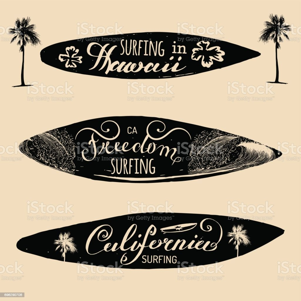 Vector Set Of Vintage Surfing Signs For Textilet Shirts Print Etc Freedom