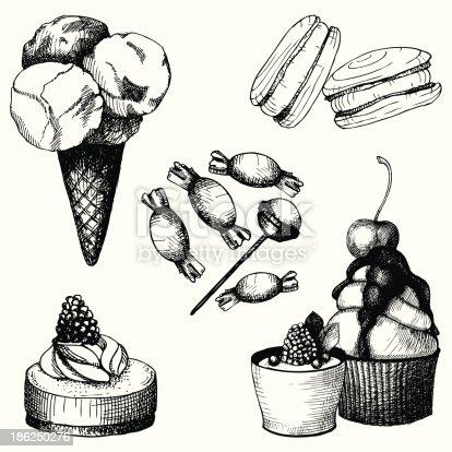 Ilustração de Vetor Definido Com Vintage Bolo Doce E Doces