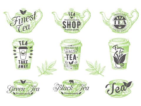 Vector set of vintage tea badges labels logos