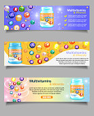 Vector set of essential vitamin and mineral complex banners. Multivitamin and minerals web banners. Dietary supplement and healthy lifestyle.