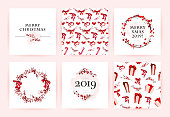 Vector set of watercolor hand drawn cards for Merry Christmas celebration congratulation cards, patterns, party invitation and packaging design. Artistic decor elements isolated on white background.