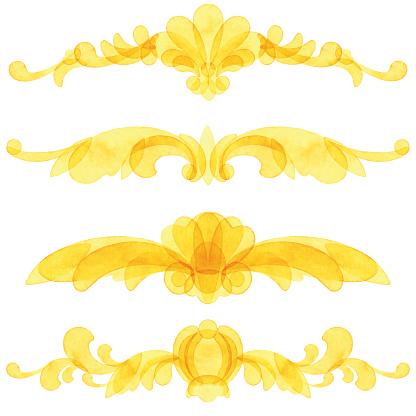 Vector Set Of Watercolor Yellow Ornaments