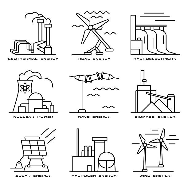 stockillustraties, clipart, cartoons en iconen met vector set of web icons on electricity generation plants - waterstof