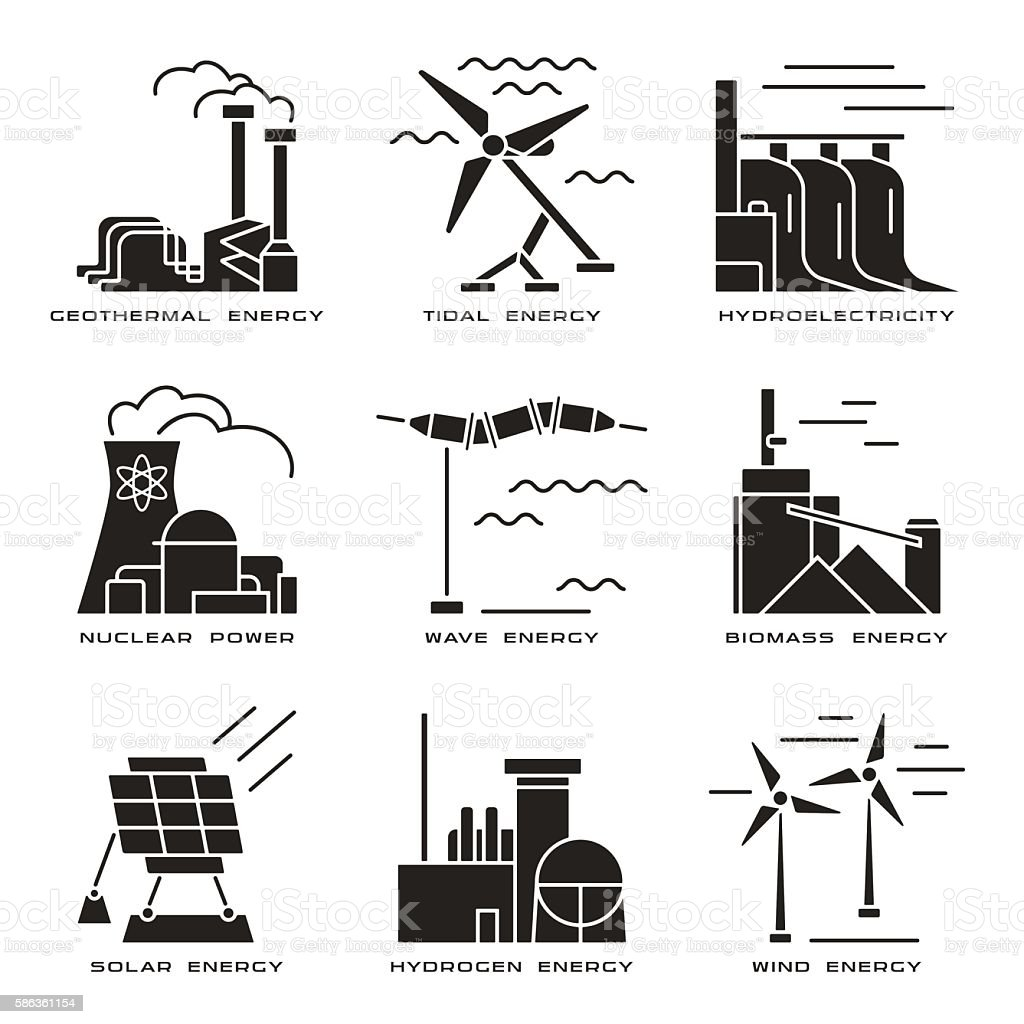 vector set of web icons on electricity generation plants