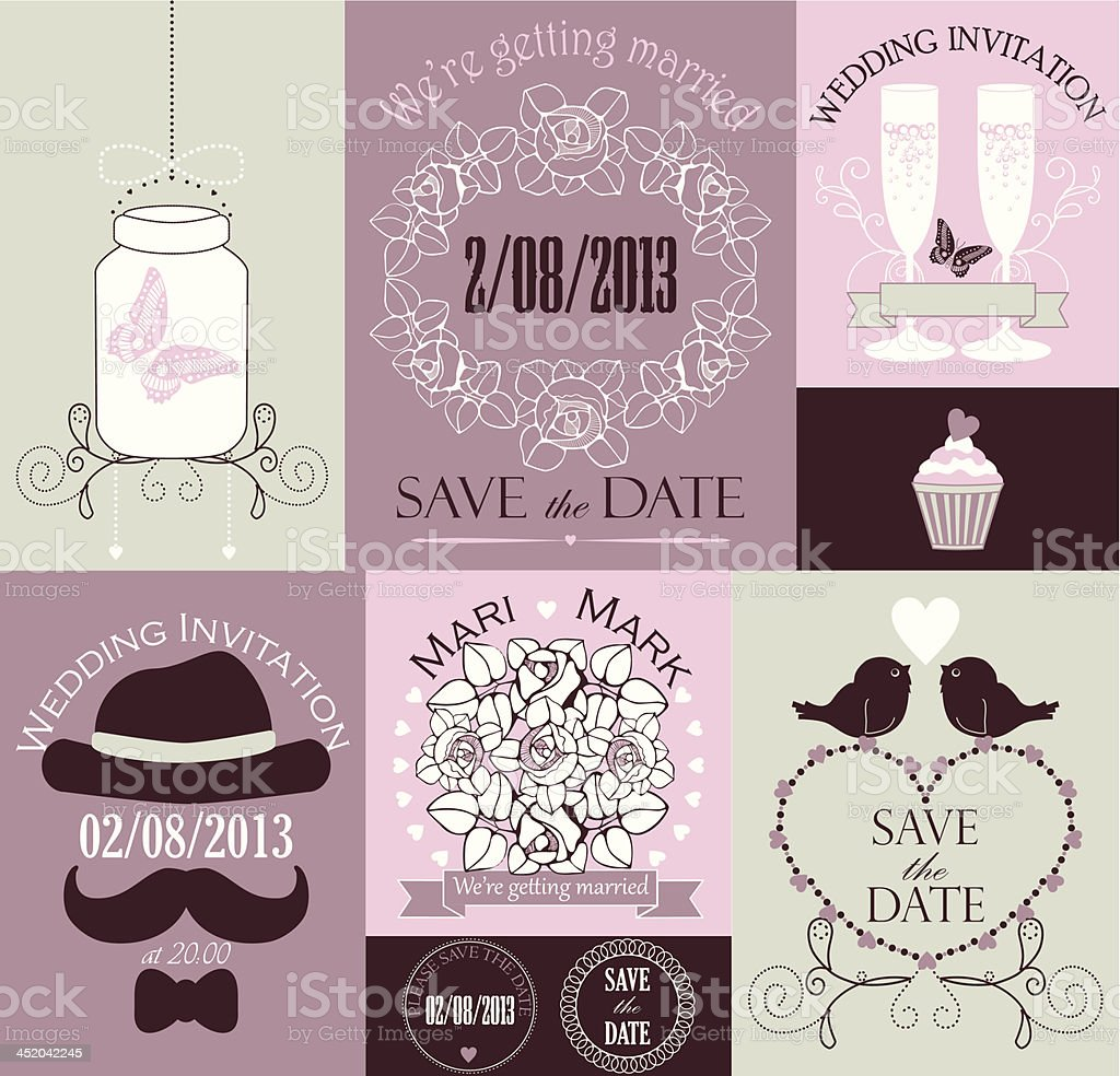 Vector set of wedding cards royalty-free stock vector art