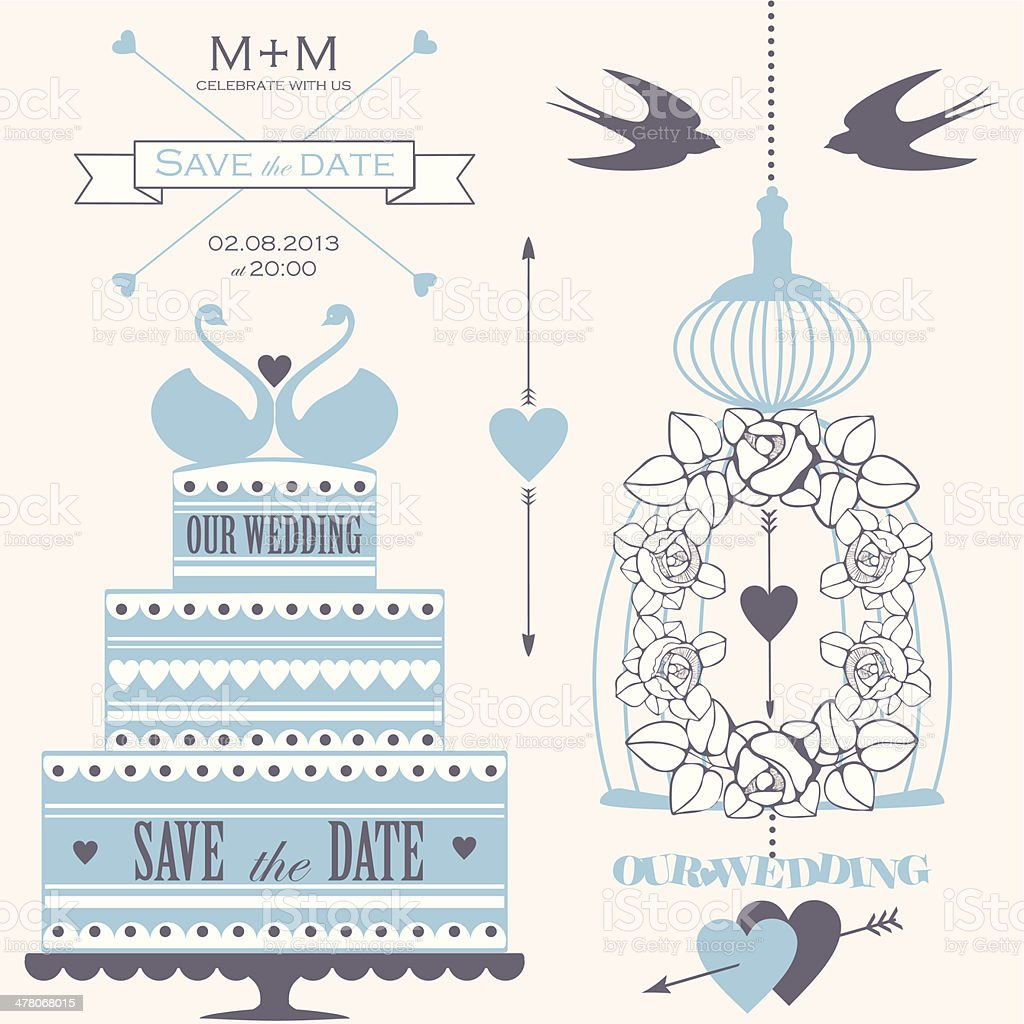Vector set of wedding design elements for greeting card royalty-free stock vector art