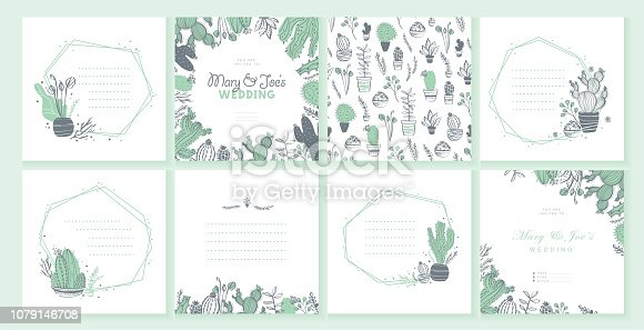 Vector set of wedding invitation, card, tag, pattern design template - text place, frame with cactus, branches, floral elements arrangements isolated on white background. Hand drawn sketch style.