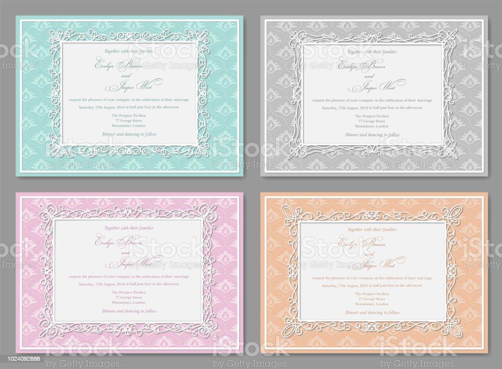 Vektorset Von Hochzeitseinladungen Postkarten Grußkarten