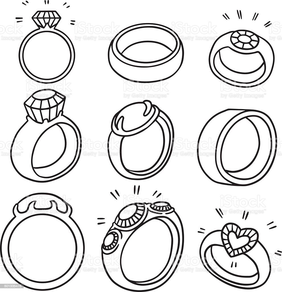 vector set of wedding ring vector art illustration