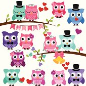 Vector Set of Wedding Themed Owls and Branches. No transparencies or gradients used. Large JPG included. Each element is individually grouped for easy editing.