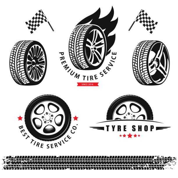 Vector set of wheels, tires and tracks for use in icons and logos Vector set of wheels, tires and tracks for use in icons and logos tires stock illustrations