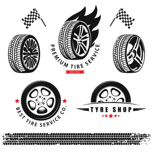 ilustraciones, imágenes clip art, dibujos animados e iconos de stock de conjunto de vector de las ruedas, neumáticos y pistas para el uso en los iconos y logotipos - tires
