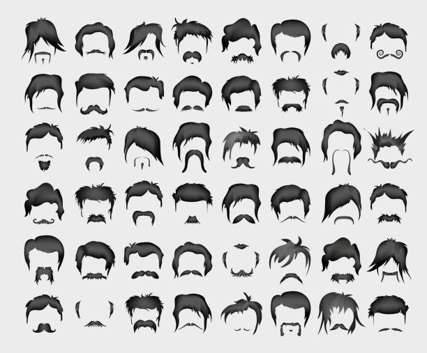 vector set of whiskers and hairstyles - old man face silhouettes stock illustrations, clip art, cartoons, & icons