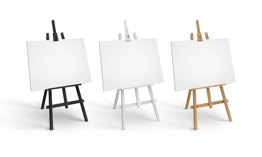 Vector Set of White Black Brown Sienna Wooden Easels in Perspective with Mock Up Empty Blank Canvases Isolated on Background