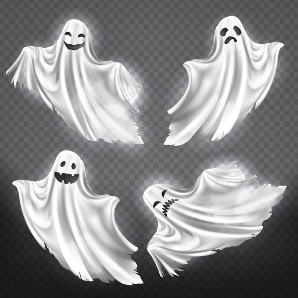 ilustraciones, imágenes clip art, dibujos animados e iconos de stock de vector conjunto de blancos fantasmas, monstruos de halloween - aparición conceptos