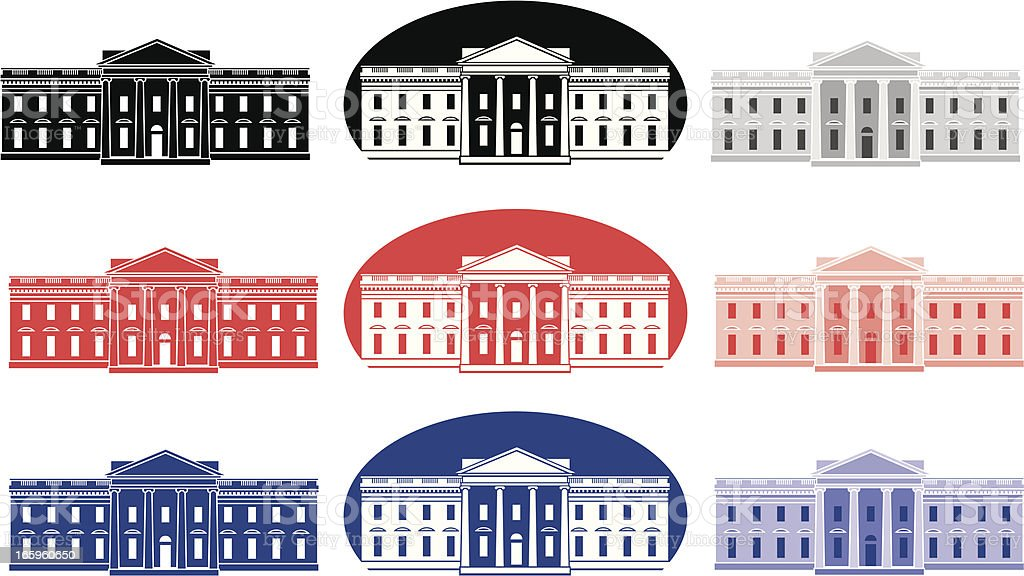 Vector set of White House icons royalty-free stock vector art