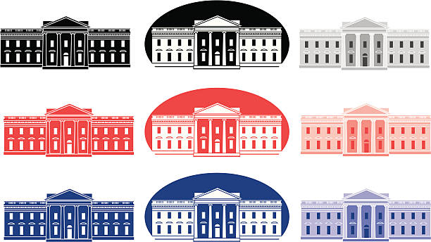Vector set of White House icons White House icons set up to print one color for inexpensive print projects. Black and grayscale, red tints of the same red, blue and tints of the same blue. Colors can be easily changed. Works great for political advertising during a presidential election season. white house stock illustrations