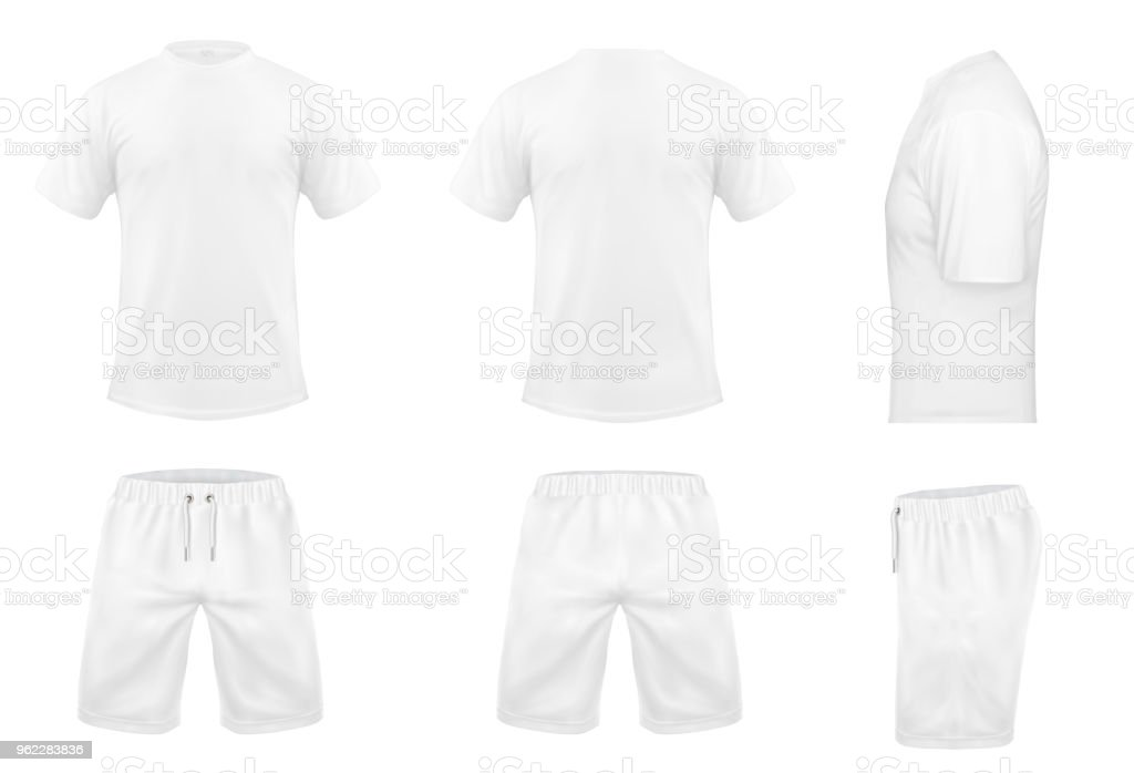 Vector set of white sport t-shirts and shorts векторная иллюстрация