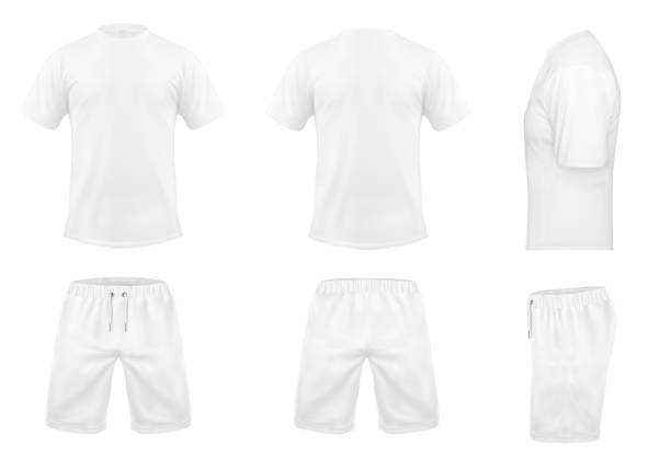 Vector set of white sport t-shirts and shorts Vector realistic set of white t-shirts with short sleeves and shorts, sportswear, sport uniform for football or rugby isolated on background. Mockup for clothes design, front, rear and side view back stock illustrations