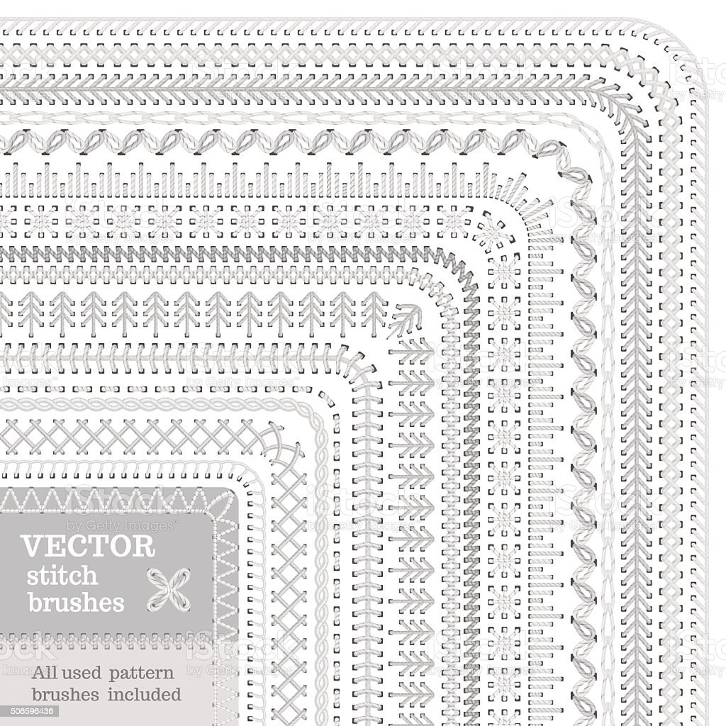 Vector set of white stitch brushes. vector art illustration