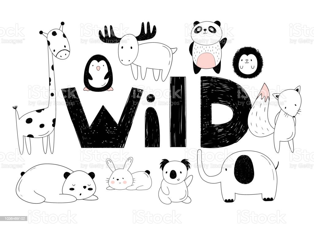 Image of: Images Vector Set Of Wild Animals Drawings By Hand Cartoon Zoo 10 Objects Istock Vector Set Of Wild Animals Drawings By Hand Cartoon Zoo 10 Objects
