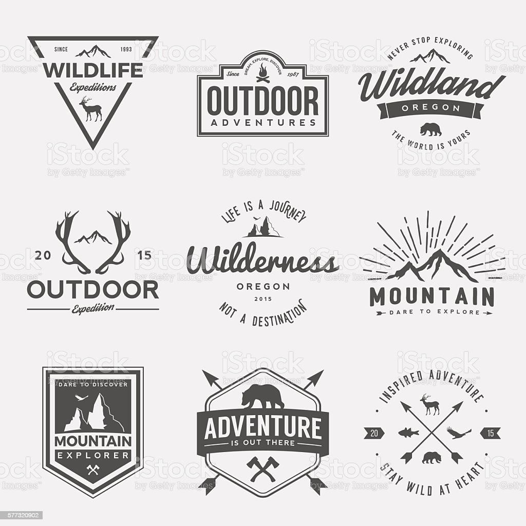 vector set of wilderness and nature exploration vintage  logos vector art illustration