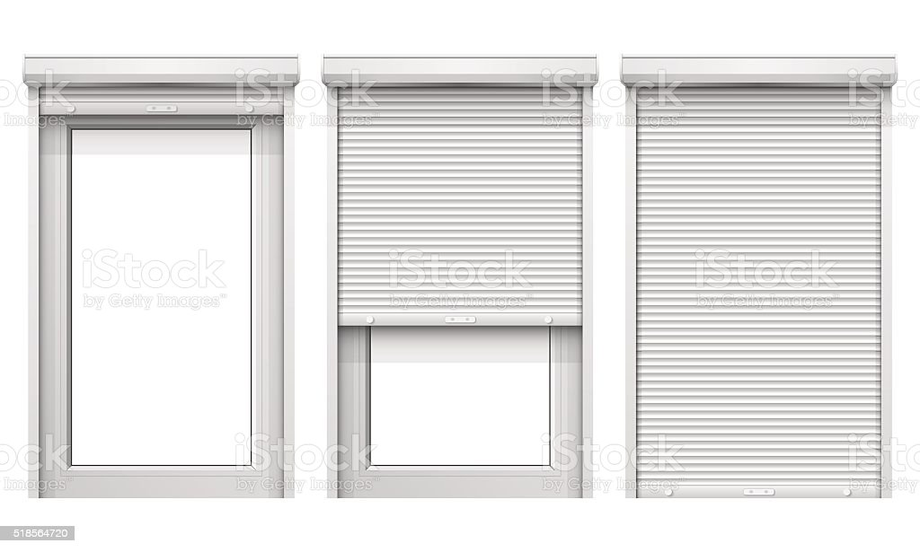 Vector Set of Windows with Rolling Shutters vector art illustration