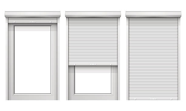 wektor zestaw windows z klapami toczenia - store stock illustrations