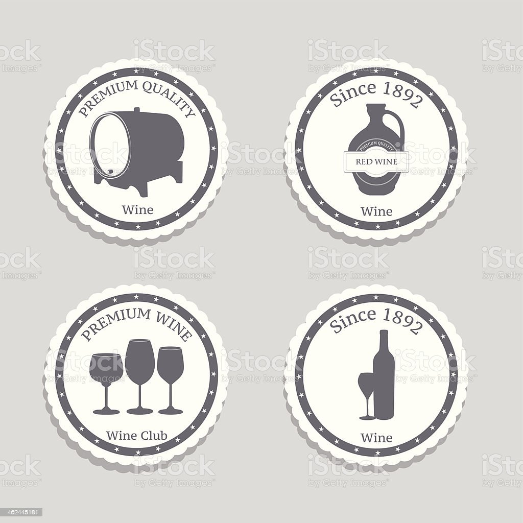 Vector set of Wine Labels with graphic design. royalty-free stock vector art