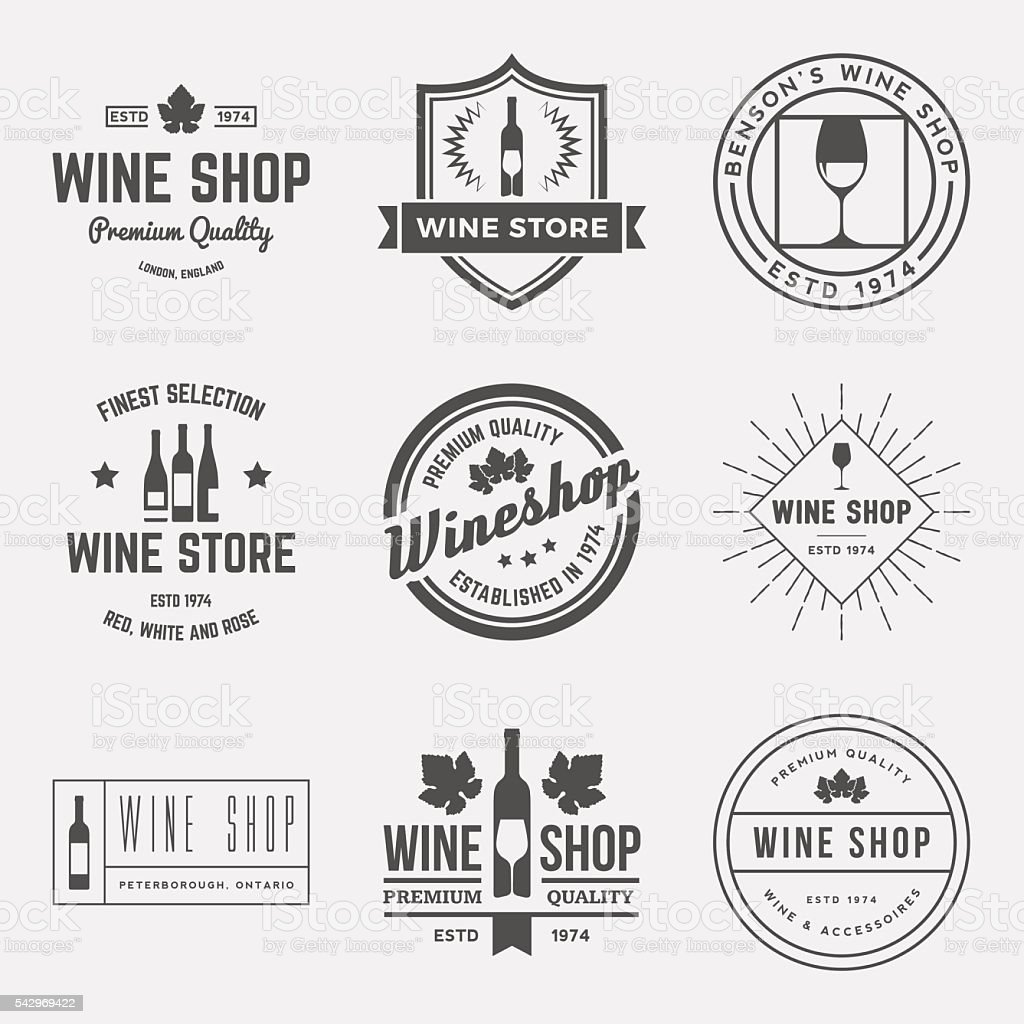 vector set of wine shop labels, badges and design elements vector art illustration