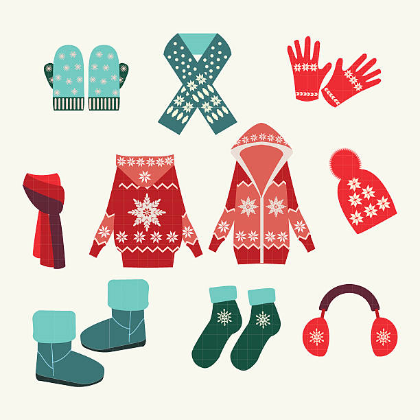vector set of winter clothing-illustration Flat collection of winter clothes and accessories - Illustration.. formal glove stock illustrations