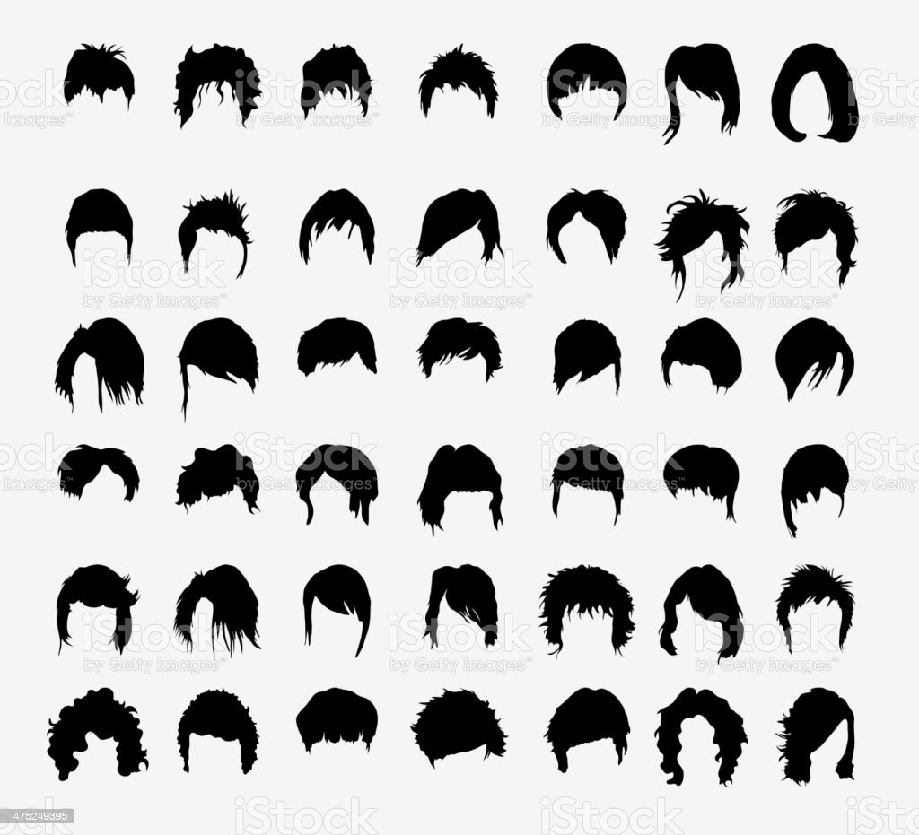 vector set of women's hairstyles vector art illustration