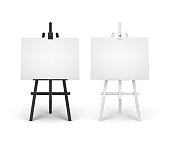 istock Vector Set of Wooden Black White Easels with Mock Up Empty Blank Horizontal Canvases Isolated on Background 1278544303