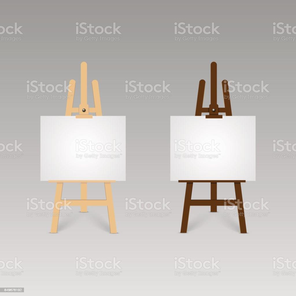 Vector set of wooden brown sienna easels. Vector vector art illustration