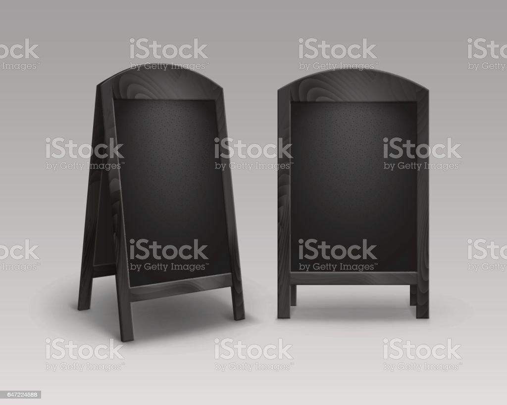 Vector Set Of Wooden Empty Advertising Street Sandwich Stands