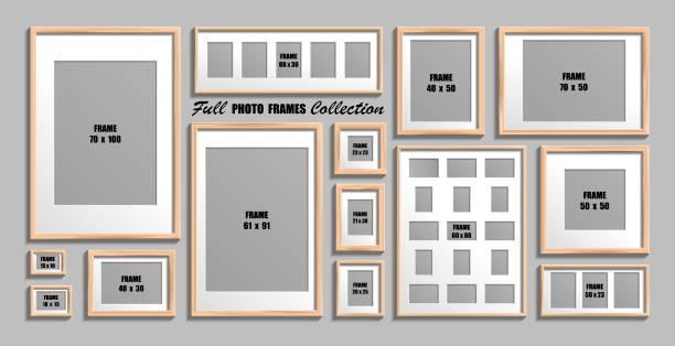 vektor-set aus holzbildrahmen mit weißem passepartout - bildformate stock-grafiken, -clipart, -cartoons und -symbole