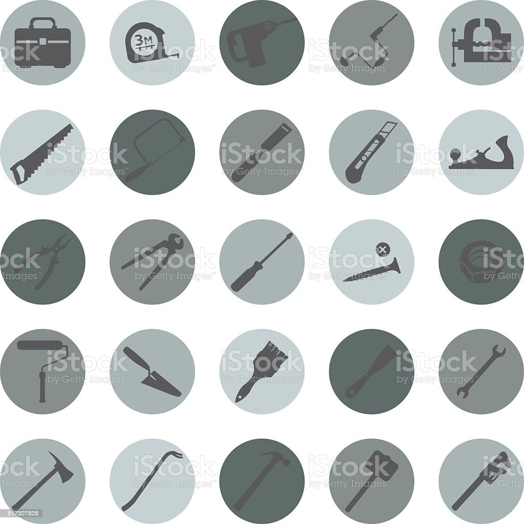 Vector Set of Work Tools Icons vector art illustration