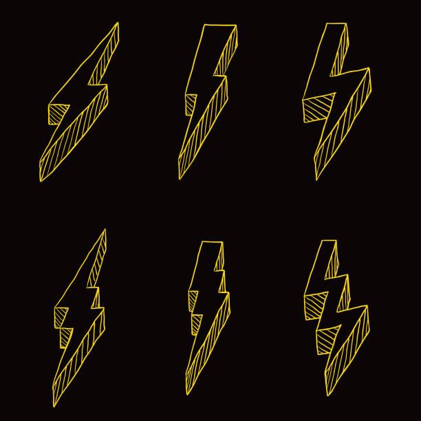 Vector Set of Yellow Sketch Thunder Bolt Symbol on Black Background Vector Set of Yellow Sketch Thunder Bolt Symbol forked lightning stock illustrations