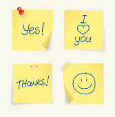 Vector set of yellow sticky Notes with text