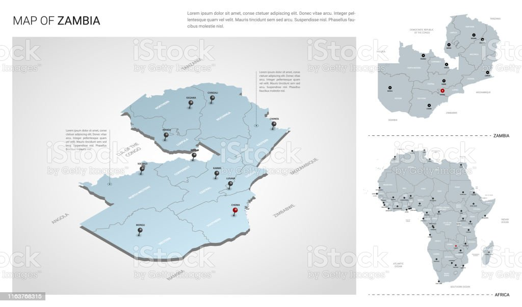 Map Of Africa Zambia.Vector Set Of Zambia Country Isometric 3d Map Zambia Map Africa Map