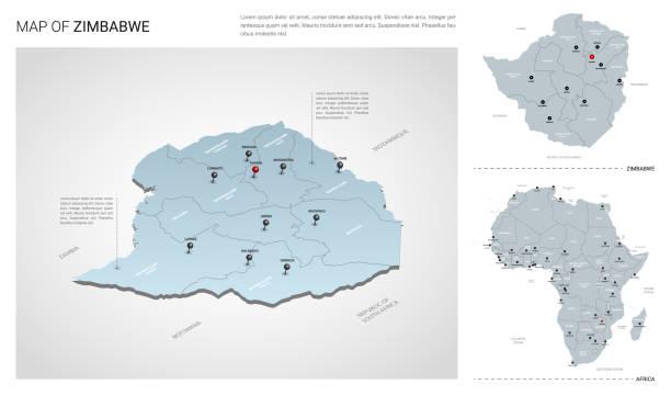 vektor-set von simbabwe land.  isometrische 3d-karte, simbabwe karte, afrika karte - mit region, staatsnamen und stadtnamen. - salisbury stock-grafiken, -clipart, -cartoons und -symbole