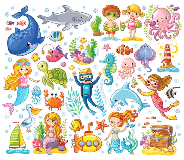 Vector set on a sea theme in a children's style. vector art illustration