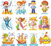 Vector set on a sea theme. A collection of children in cartoon style.