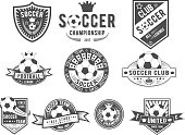 Vector set on soccer theme for design templates, icons, emblems, promotion, isolated on white background