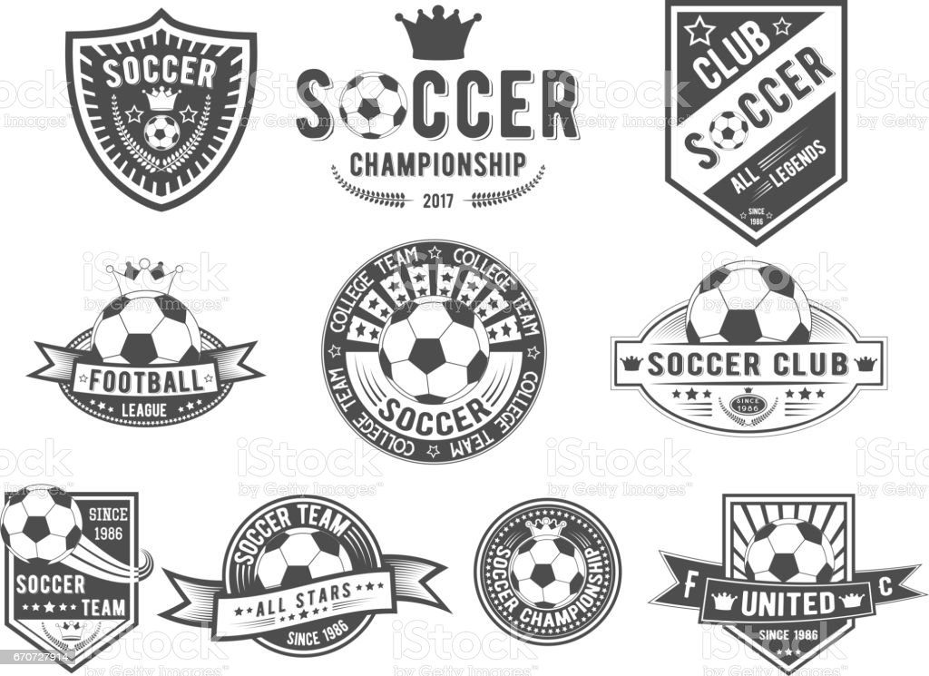 Vector set on soccer theme for design templates, icons, emblems, promotion, isolated on white background vector art illustration