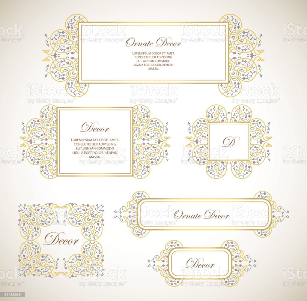 Vector set ornamental  decorative frame.