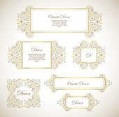 Vector set gold ornamental  decorative frame. Elegant ornate  element for design template, place for text. Luxury floral border. Lace decor for birthday and greeting card, wedding invitation,certificate.