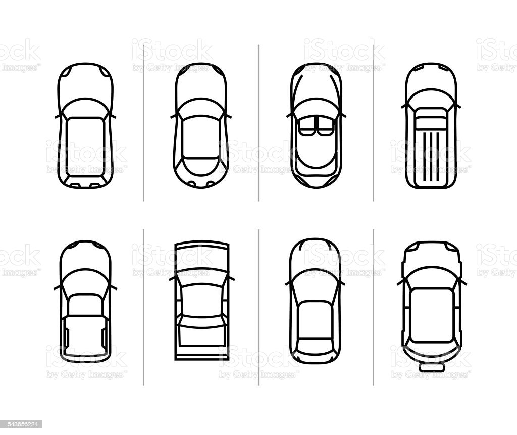 Vecteur voitures set silhouette vue du haut ic nes de voiture vecteurs libres de droits et plus - Voiture vue de haut ...