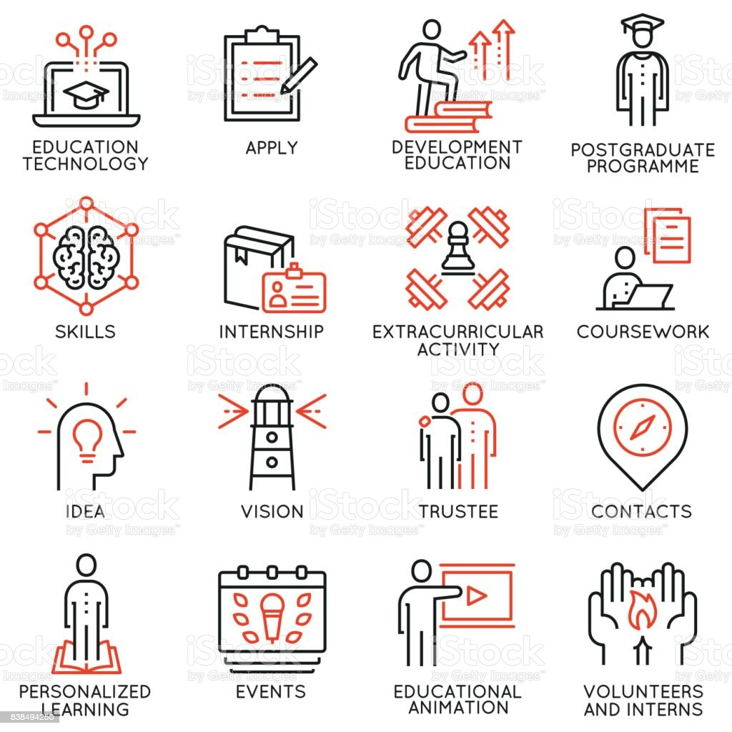 Vector set outline icons related to educational process, career progress, training,  tutorship and professional consulting service. Mono line pictograms and infographics design elements - 2 vector art illustration